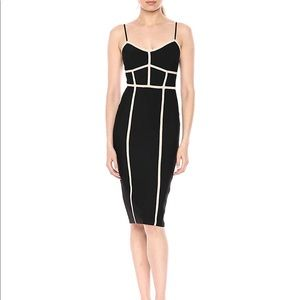 BCBG Strappy Bodycon dress black and nude